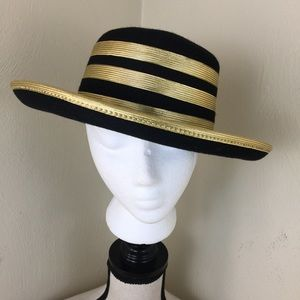 Derby Style women Felt Hat. Black/Gold Trim.